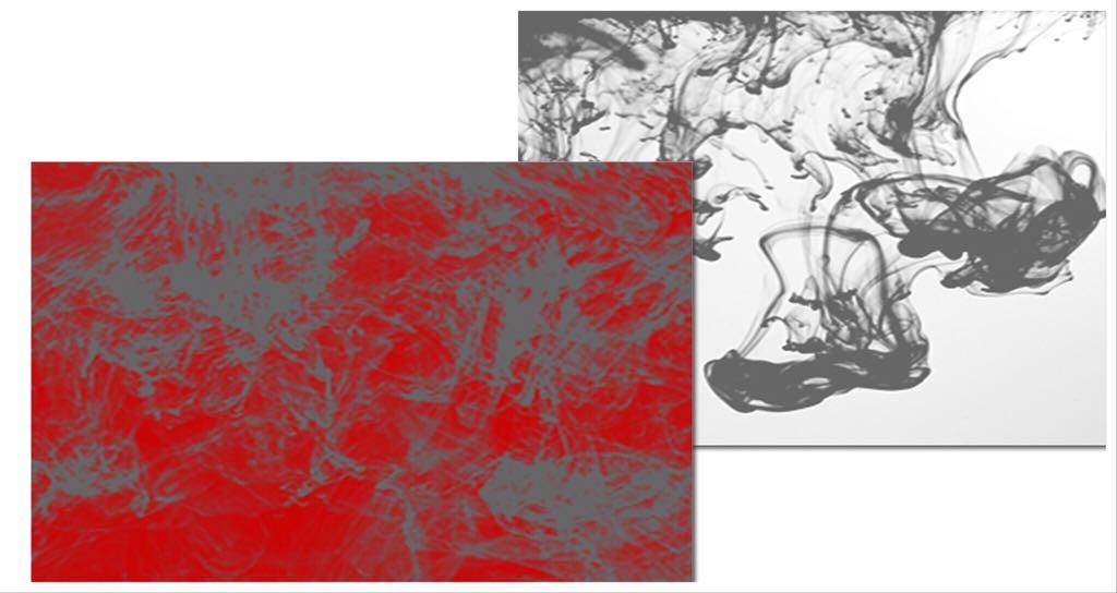Pinturas sobrepuestas rojo y gris oscuro